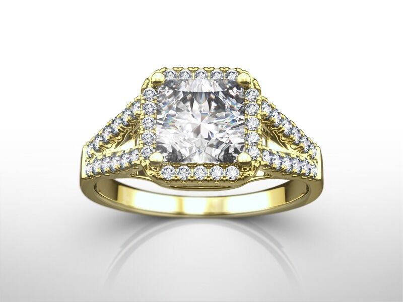 1 3/4 Ct Princess Cut E/si2  Enhanced Diamond Engagement Ring 14k Yellow Gold