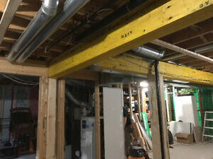 Load bearing walls removed open concept beams posts installed
