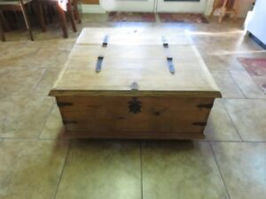 Solid pine coffee table/storage bin
