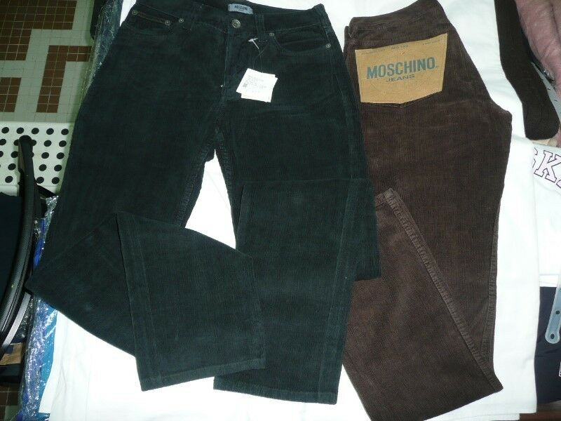 "Authentic MOSCHINO Jeans MEN Straight Leg Low Waist Size 29"" Brown or Black Corduroy"