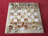 Marble chess board gold silver metal pieces vgc