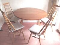 1960's Ercol Drop Leaf-Dining Table and four Goldsmith chairs