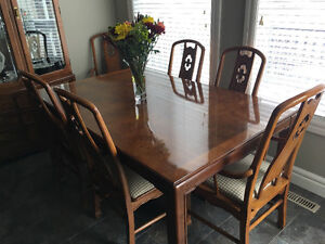 Dining room table, hutch, and buffet