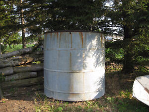 Metal water barrel - originally on a tower