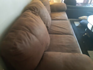 ASHLEY FURNITURE BROWN WALNUT COUCH 180.00 OBO