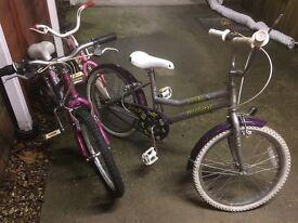 Three childrens bikes