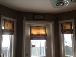 Custom Made roman blinds and matching window valances