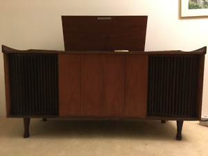 Mid-century Teak Stereo Cabinet with Radio and Turntable