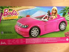 Barbie glam convertible. Cabriolet. Pink car. And barbie doll. Mattel. Toy. Gift. Kids.