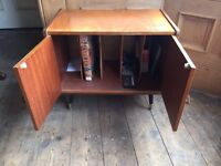 Vintage record player table & lp storage