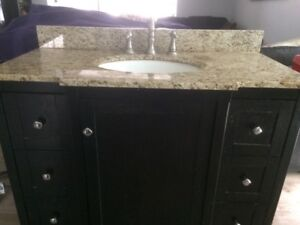 Bathroom Vanity with Granite Top, & Nickel Faucet