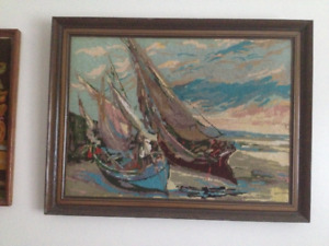 Embroidered large pic of two sail boats