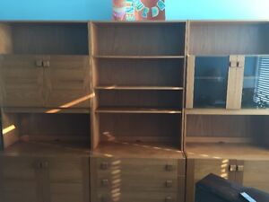 Solid Teak 3 sections Wall unit