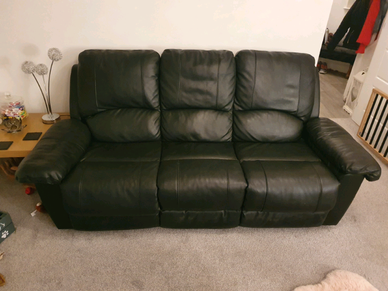 3 Seater Black Leather Recliner Sofa | in Exeter, Devon | Gumtree