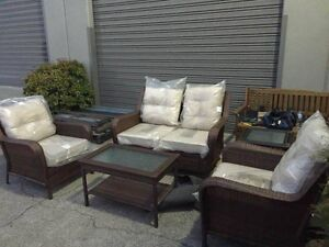 4 Pieces Wicker Outdoor Furniture Set-With Cushions Bayswater Knox Area Preview