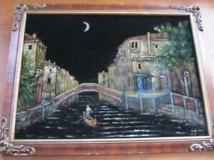 VINTAGE ART 1939  OIL ON VELVET