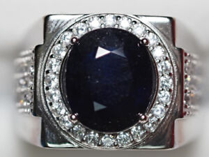 Sterling Silver CZ Large Enhanced Sapphire Ring