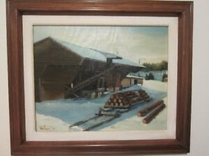 peinture huile FAULKNER 72 / clos de bois RICHARD DANVILLE P.Q.