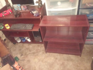 COMPUTER REDWOOD COLORS DESK AND MATCHING SHELVING UNIT