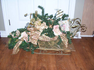 Christmas Sleigh With Decorations 31 long and 19in tall