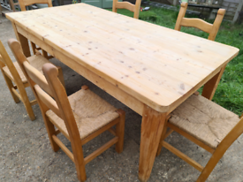 Large farmhouse table and 6 chairs
