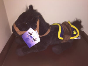 RCMP Stuffed Black Mounties Horse NEW with tags Collectible
