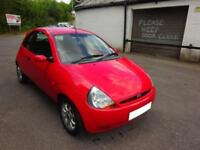 2008 '08' FORD KA 1.3 ZETEC CLIMATE 3 DOOR HATCH IN BRIGHT RED ONLY 54,000 MILES