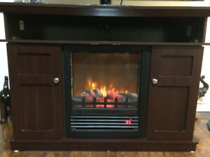 NEW Media Fireplace Rustic Brown