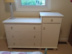 Beautiful dresser/change table with crystal knobs!