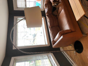 Modern curved lamp, shade damaged slightly - must pick up today!