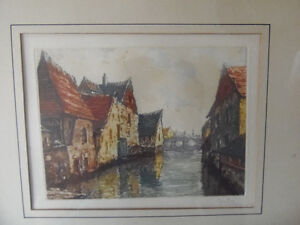 BRIGHT certified handpainted ORIGINAL French canal etching!