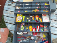 fishing box complete with fishing tackle