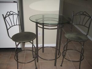 GLASS TOP BISTRO TYPE TABLE and CHAIRS