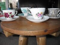 Four Vintage Tea Cups and Saucers