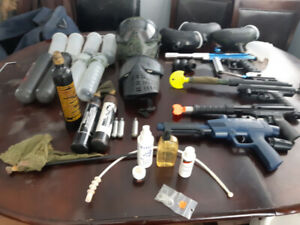 Paintball guns and gear