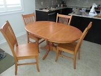 Solid Wood Dining Table and 4 Chairs COBOURG