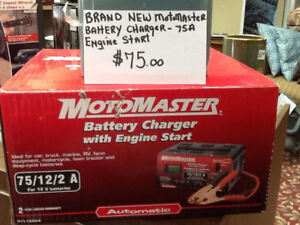 motomaster battery charger new in box,75a