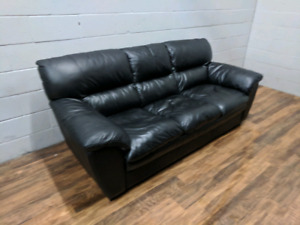 (Free Delivery) - Black genuine leather sofas