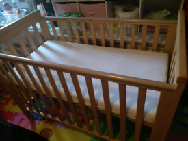 Baby cot and new mattress