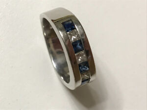 Men's diamonds and sapphires in white gold