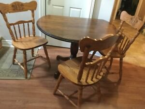 free delivery solid wood dining table and 3 chairs