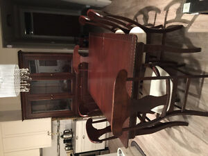Wood table, chairs and hutch