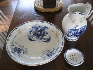 """Large Antique """"Mecca"""" Pitcher, Bowl, & Soap Dish Set."""