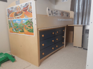 Kids loft bed, Chest and writing table All in one