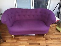 Winged buttoned 2 seater sofa