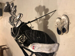 Full Set Golf Clubs w/ Bag, Balls, Tees and Golf Shoes