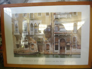 Picture print with glass and wood frame