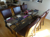 Glass top table & 6 leather chairs