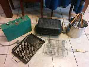 Propane grill, stove, 2 stick pots and bbq tools