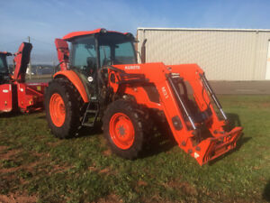 Two 2013 Kubota M8560 Tractors with blowers and buckets